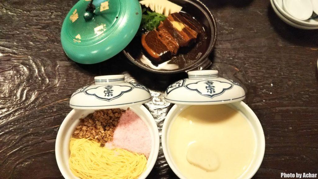 茶碗蒸と蒸寿しと豚の角煮