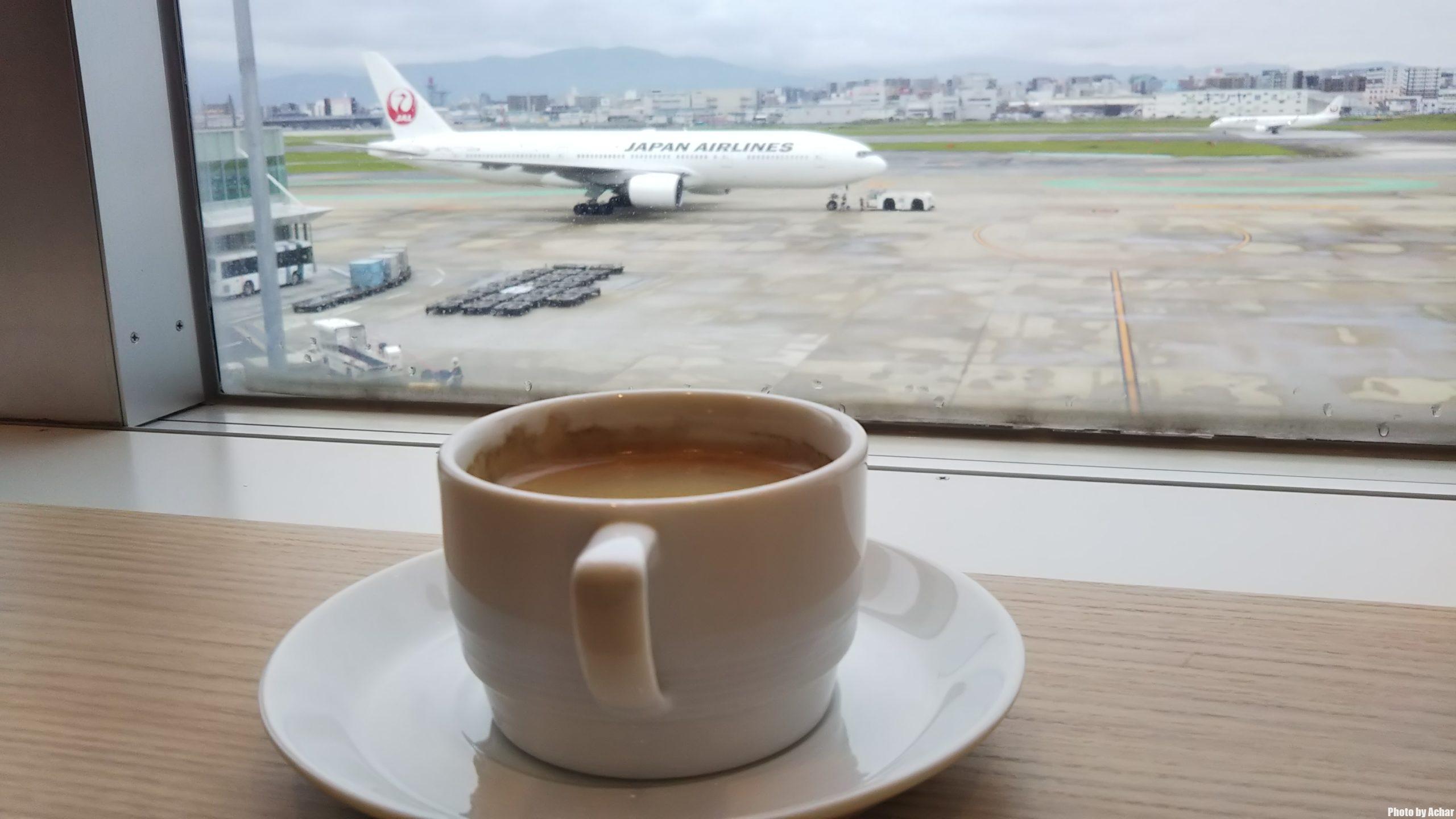 ラウンジでコーヒー